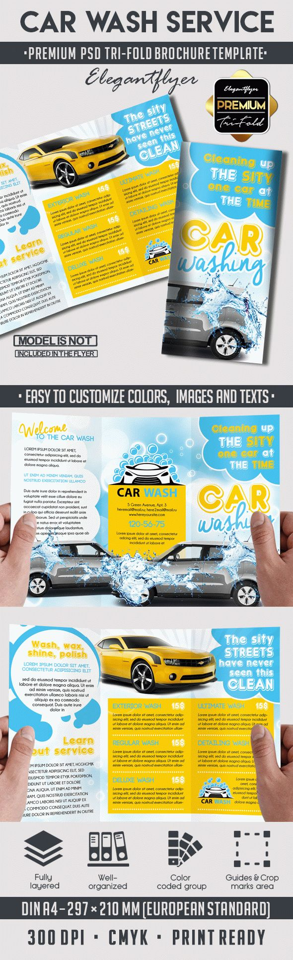 Car wash premium tri fold psd brochure template by for Car brochure template