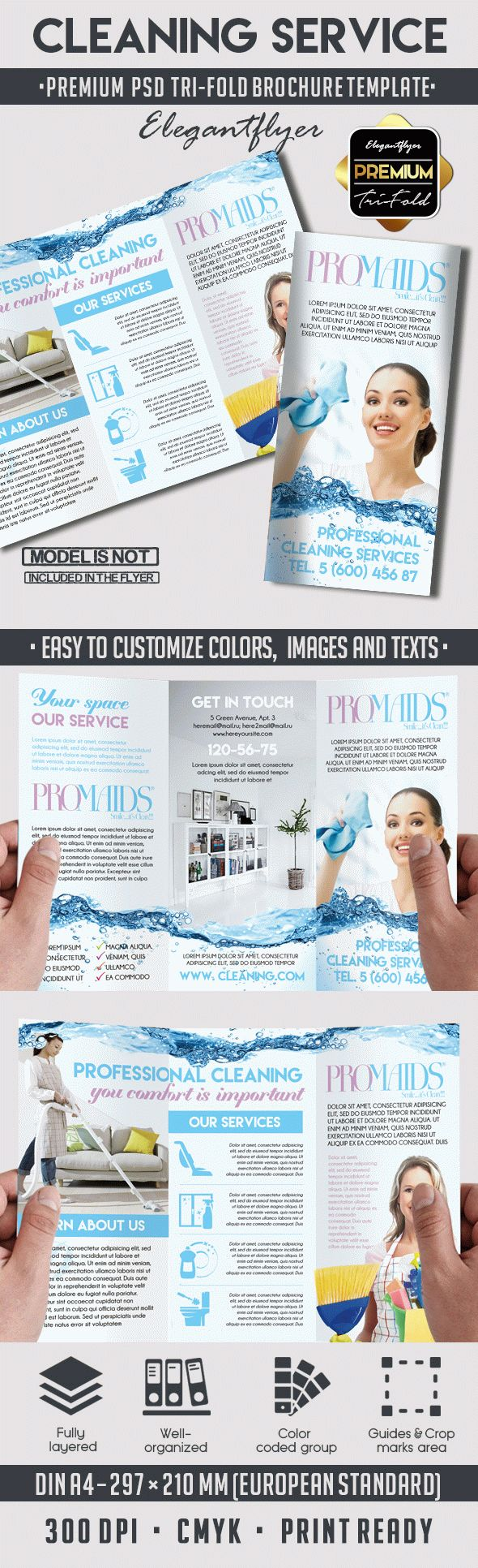 Cleaning service tri fold brochure by elegantflyer for It services brochure template