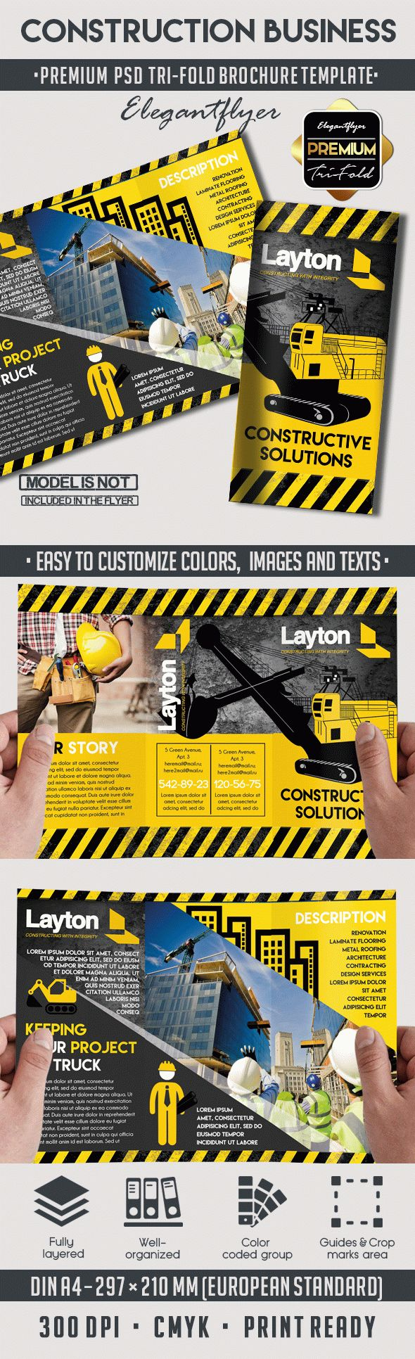 construction brochure template - tri fold brochure for construction business by elegantflyer
