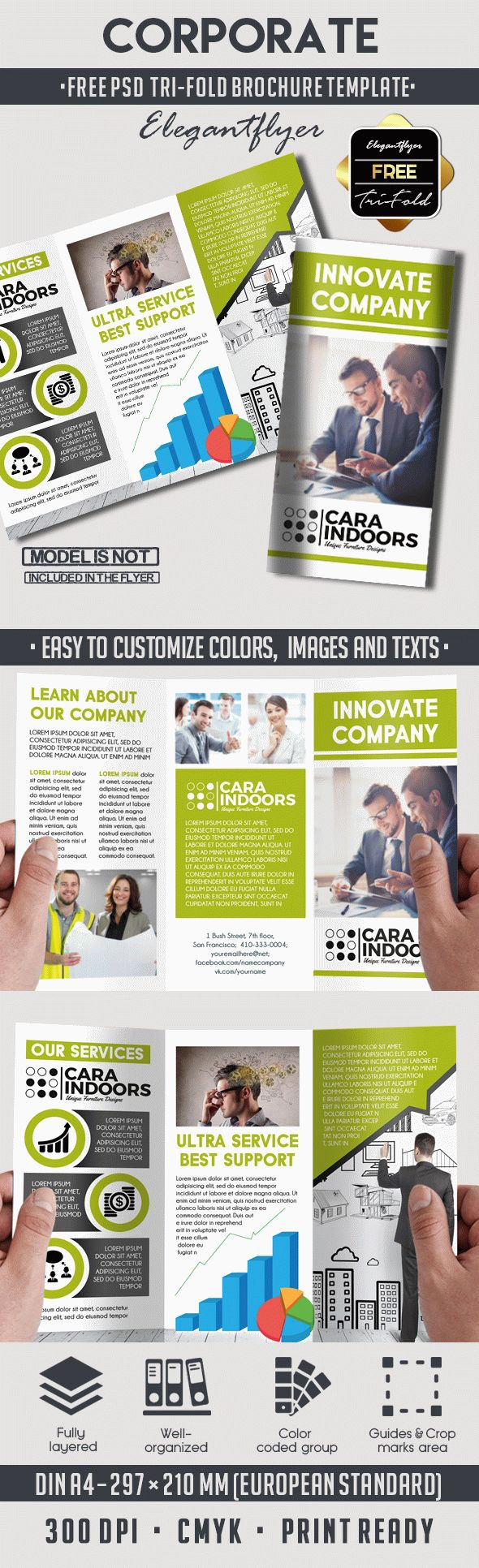 Corporate brochure design psd by elegantflyer for Tri fold brochure psd template