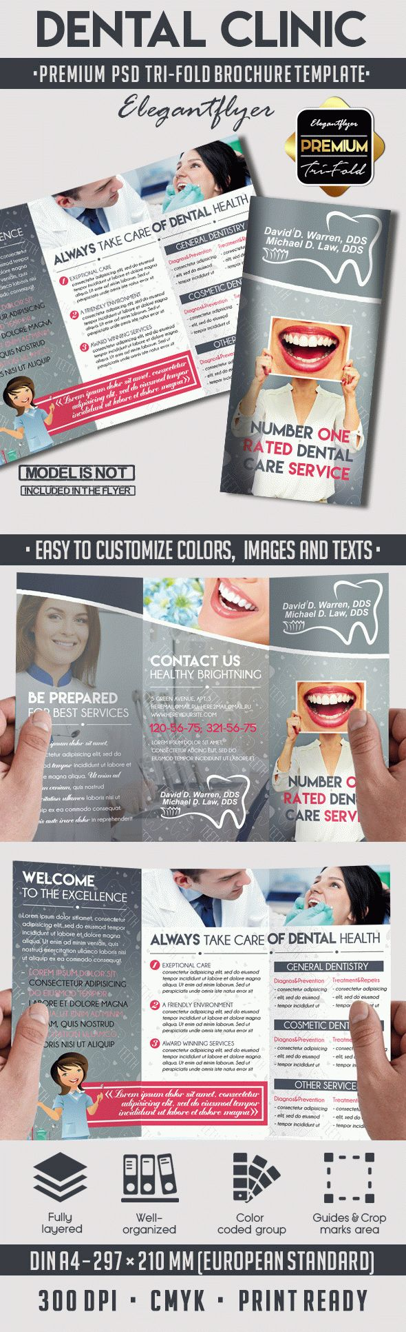 Tri fold brochure for dental clinic by elegantflyer for Clinic brochure template