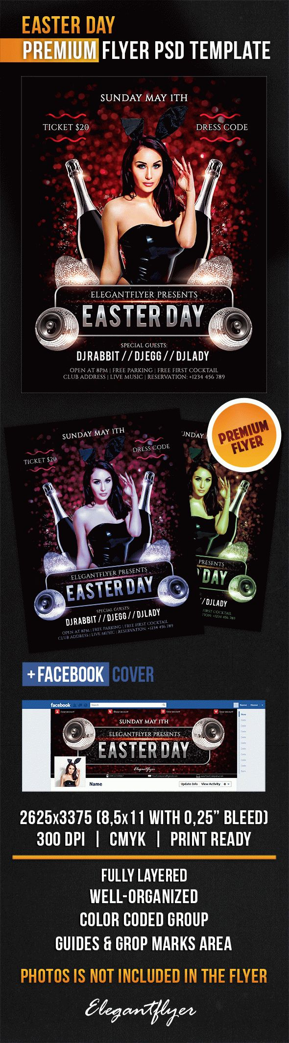 Easter Day – Flyer PSD Template + Facebook Cover