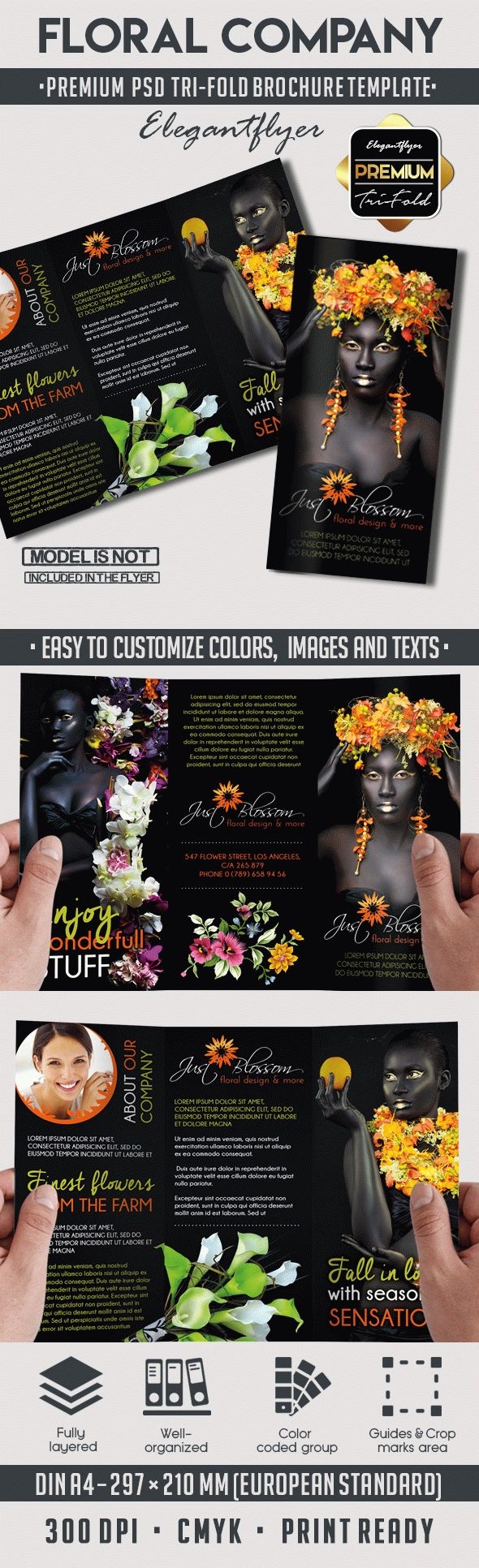 Tri-Fold PSD Brochure for Floral Company