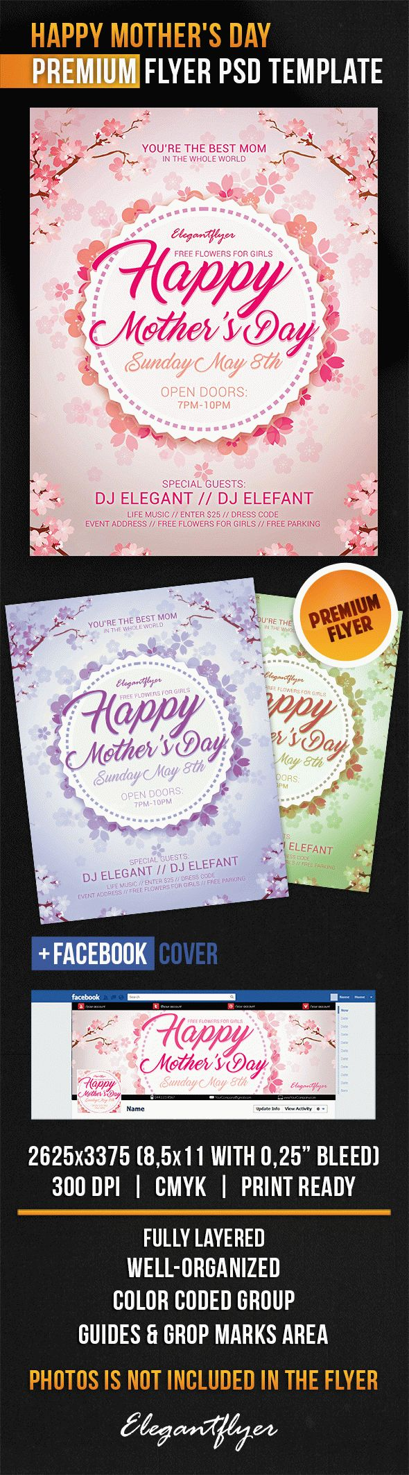 Happy Mother's Day – Flyer PSD Template + Facebook Cover ...
