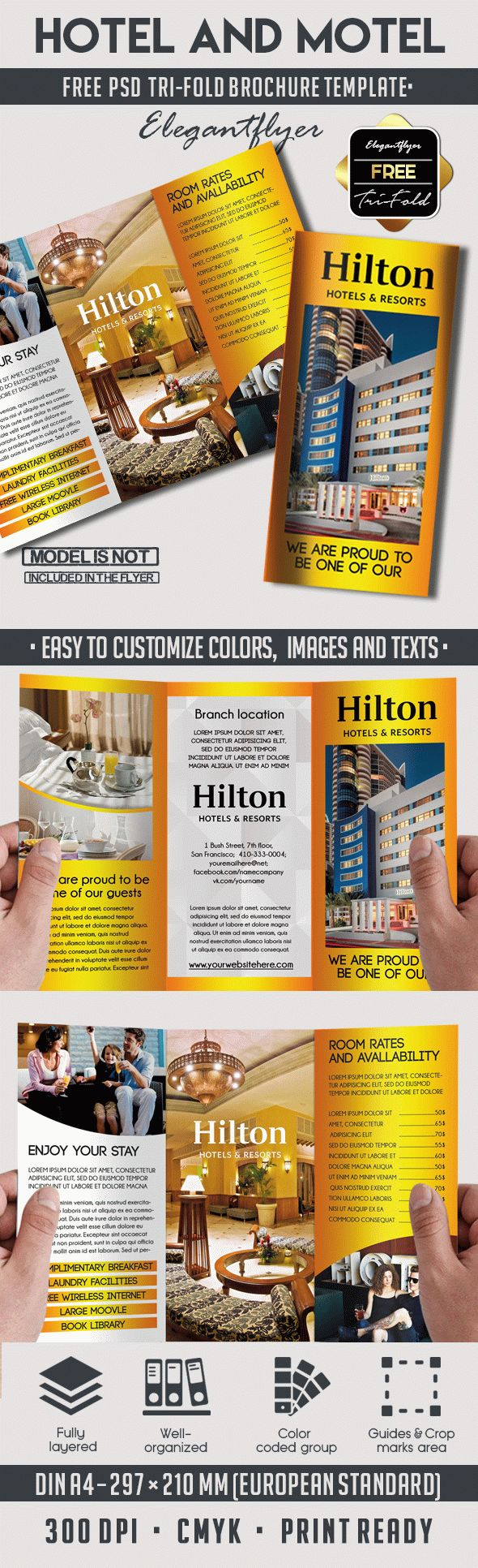 free tri fold brochure template psd - free hotel and motel tri fold psd brochure by elegantflyer