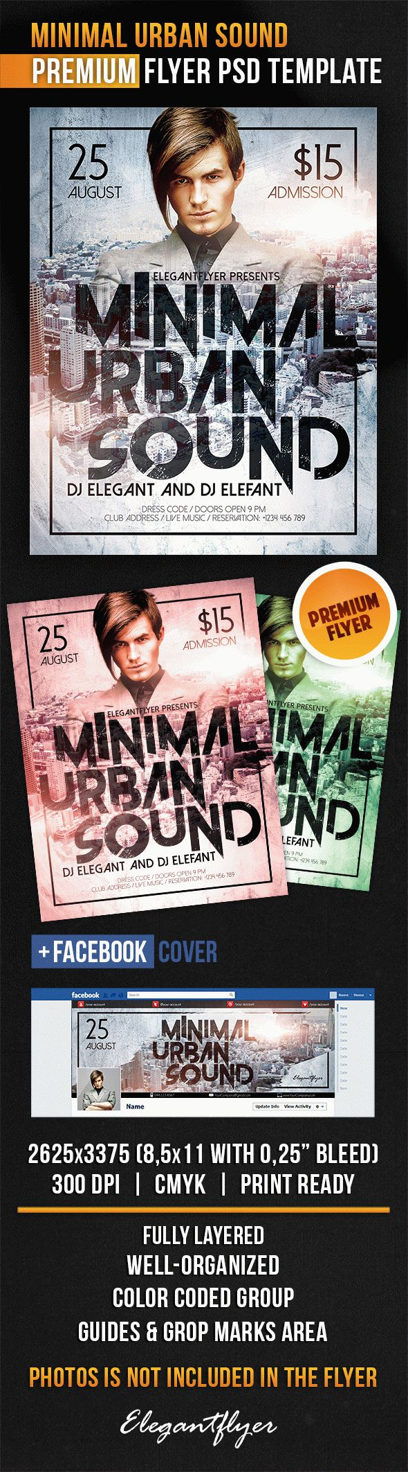 Minimal Urban Sound – Flyer PSD Template + Facebook Cover