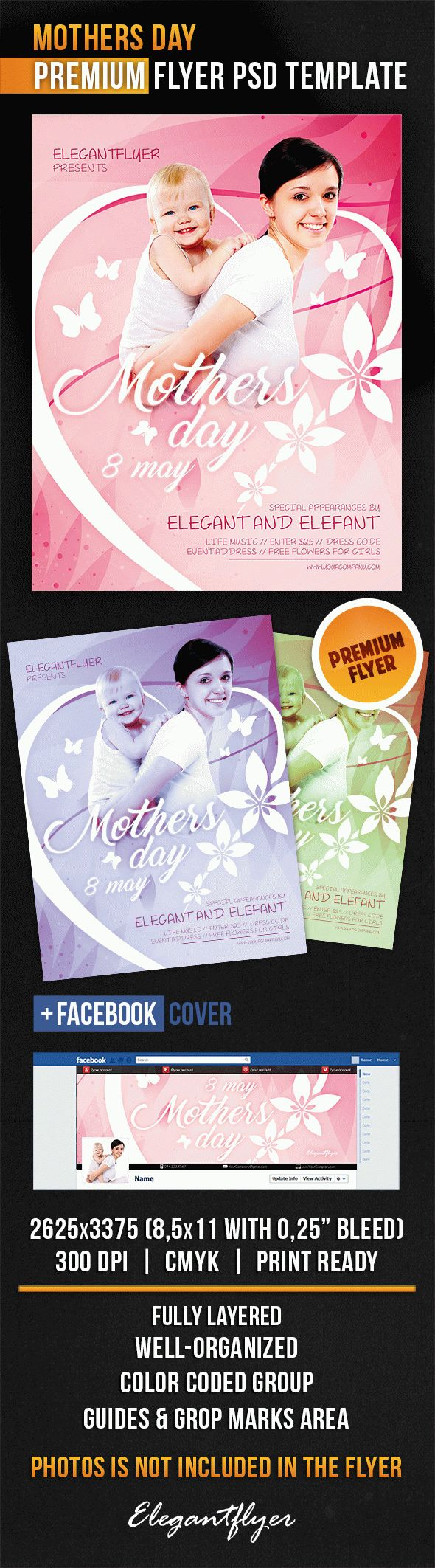 Mothers Day – Flyer PSD Template + Facebook Cover