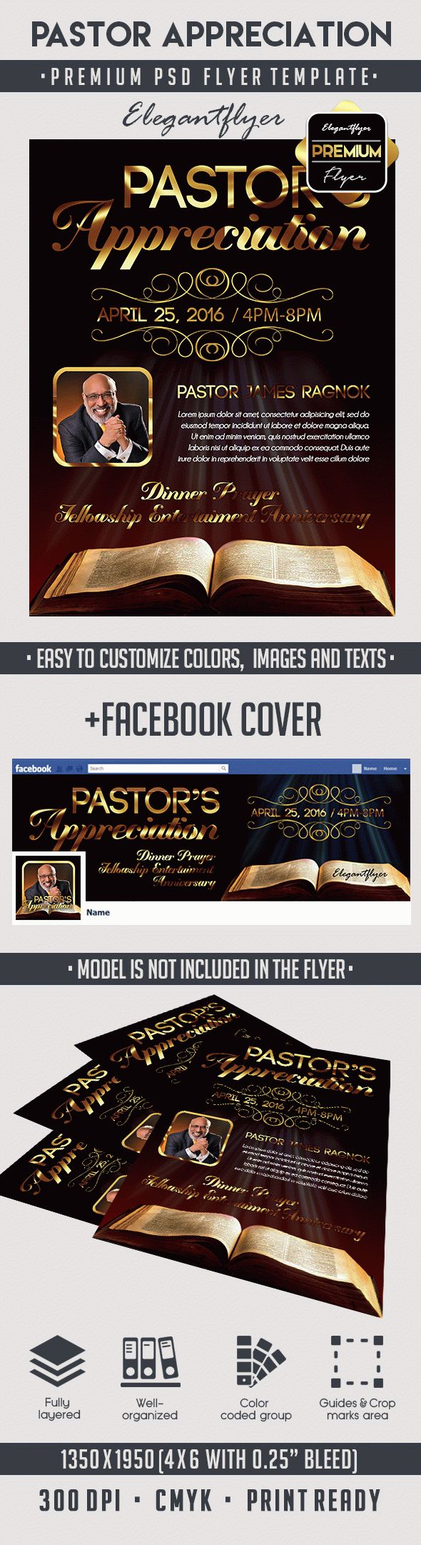 Pastor Appreciation – Premium Flyer PSD Template + Facebook Cover