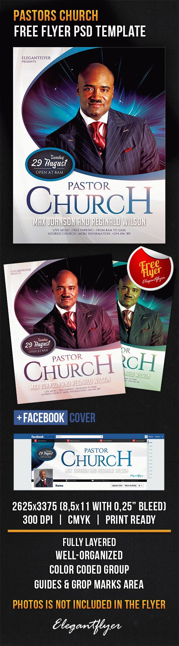 Pastors Church – Free Flyer PSD Template + Facebook Cover