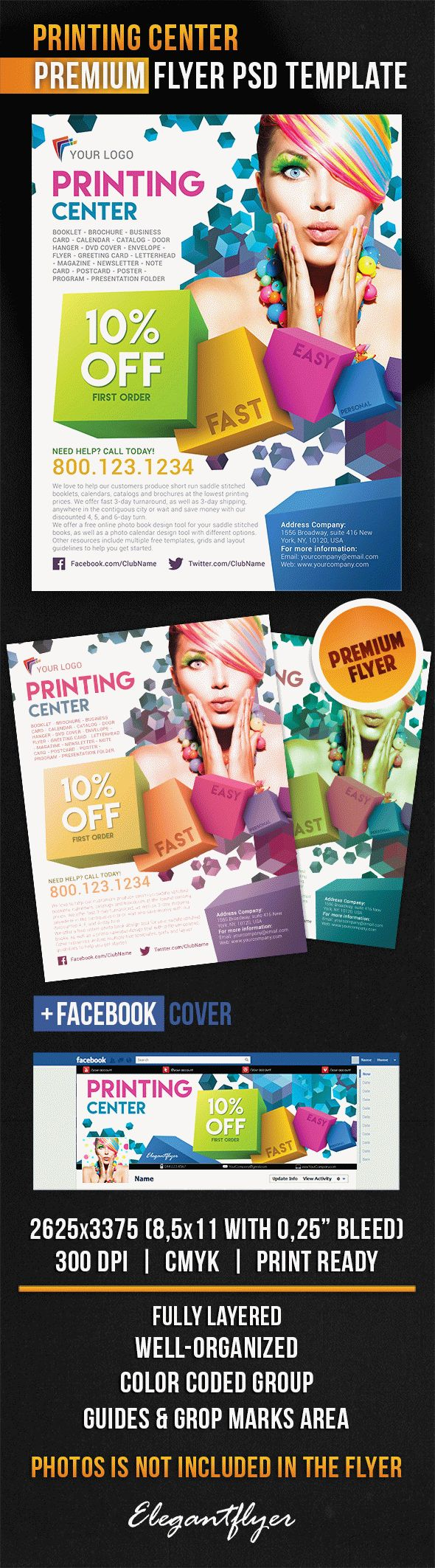 Printing Center – Flyer PSD Template + Facebook Cover