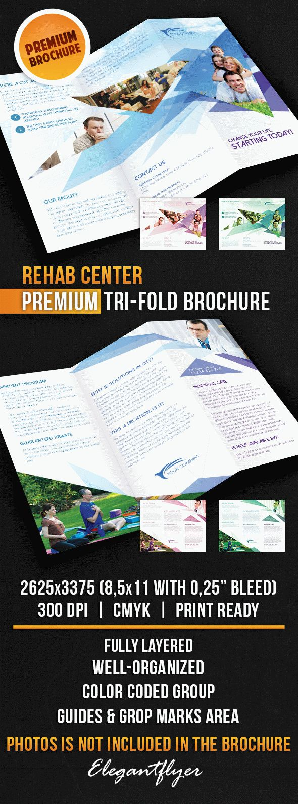 Rehab Center – Tri-Fold Brochure PSD Template