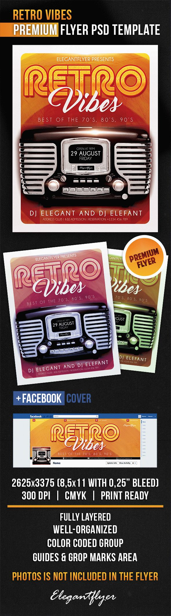 Retro Vibes – Flyer PSD Template + Facebook Cover