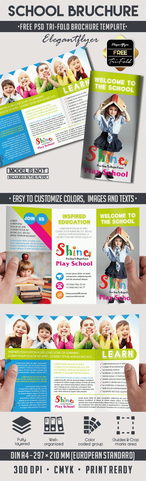 School Free PSD TriFold PSD Brochure Template By ElegantFlyer - School brochure template free