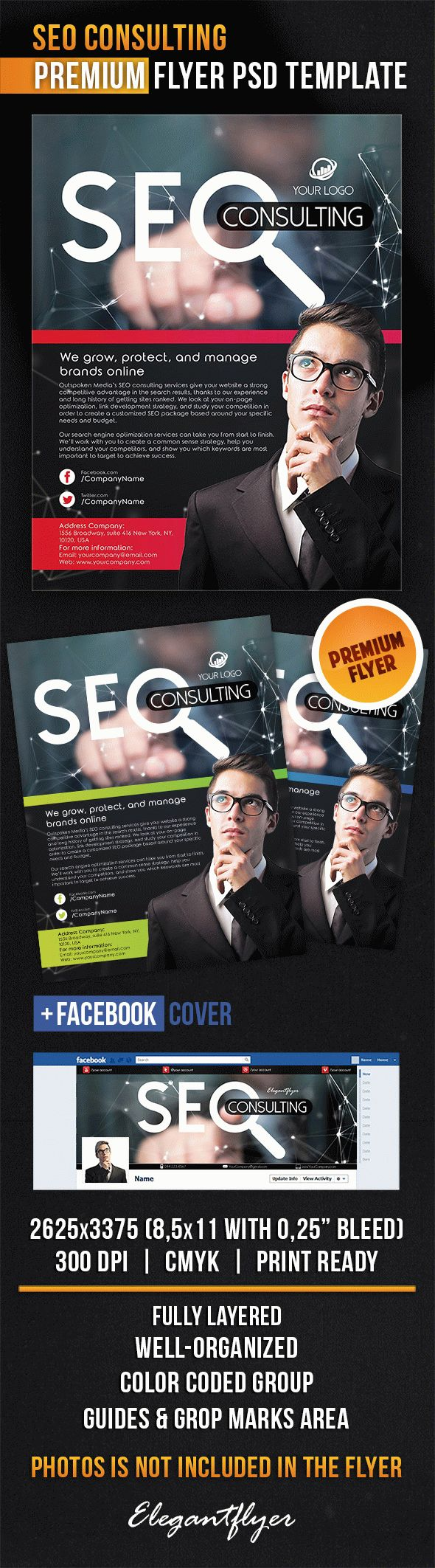 SEO Consulting – Flyer PSD Template + Facebook Cover
