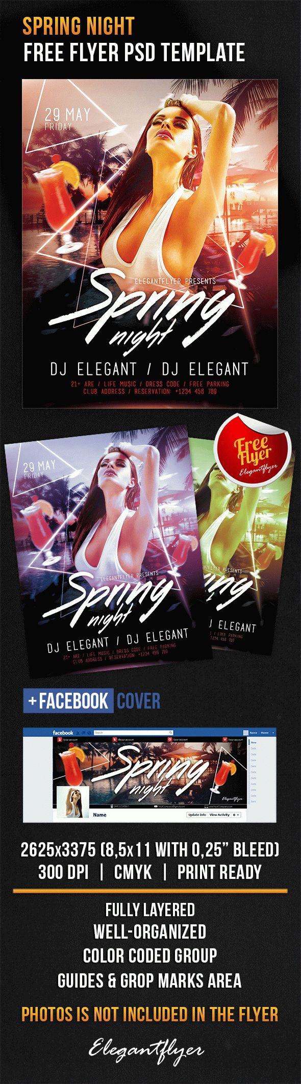 Spring Night – Free Flyer PSD Template + Facebook Cover