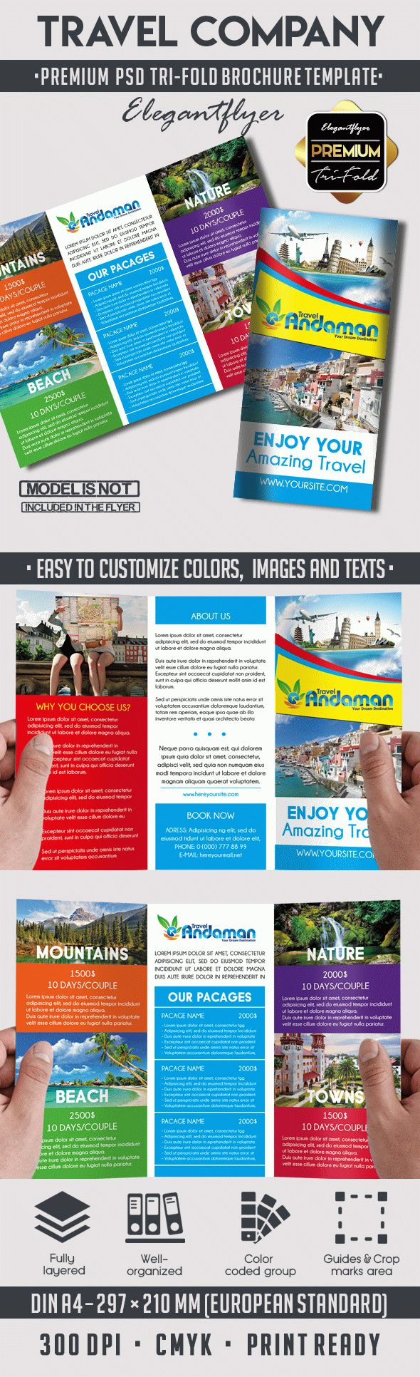 two fold brochure template psd - travel premium tri fold psd brochure template by