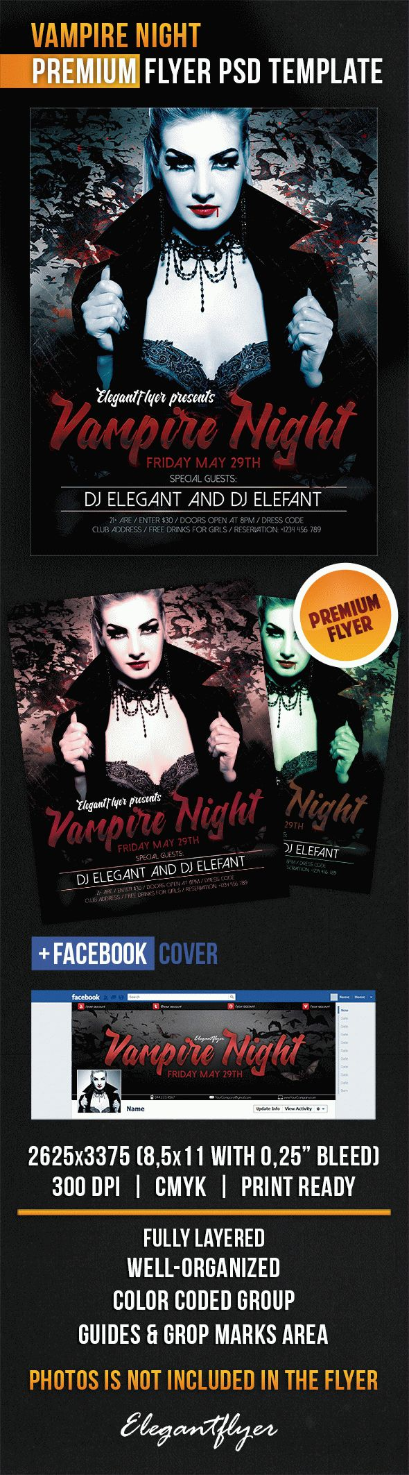 Vampire Night – Flyer PSD Template + Facebook Cover