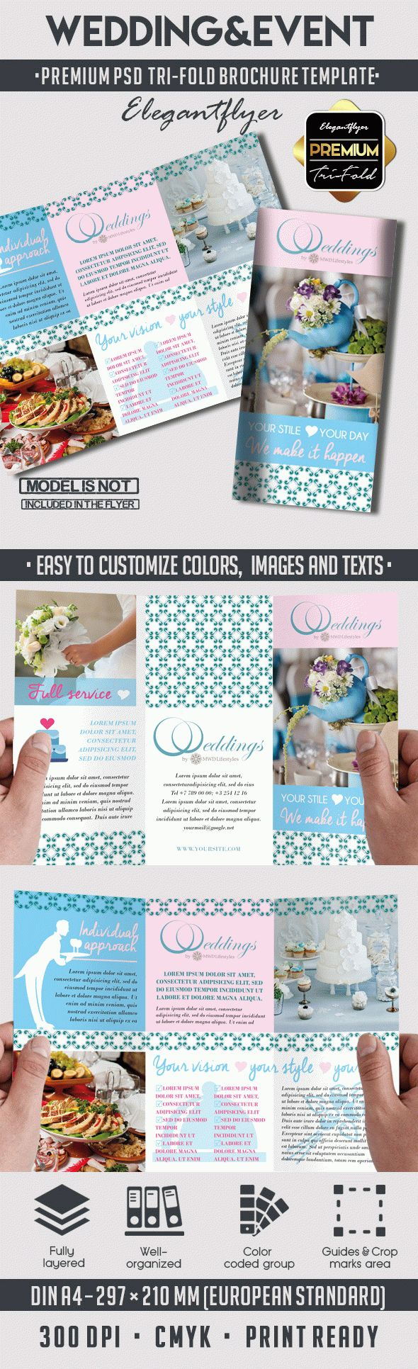 Wedding&Event – Premium Tri-Fold PSD Brochure Template