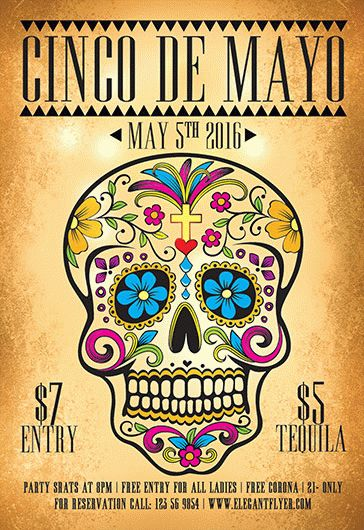 Party for Cinco de Mayo Skull Template