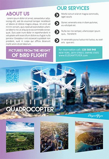 Shooting with Quadrocopter – Flyer PSD Template + Facebook Cover