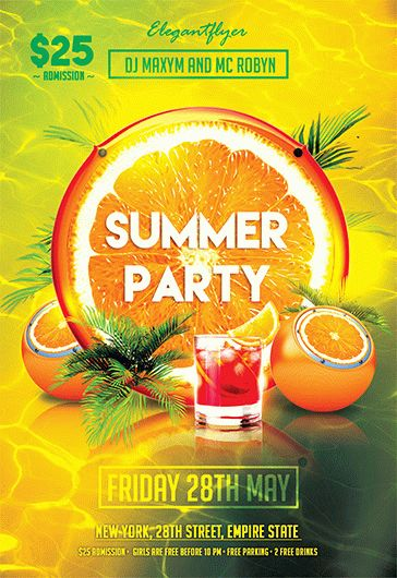 summer party v02 flyer psd template by elegantflyer