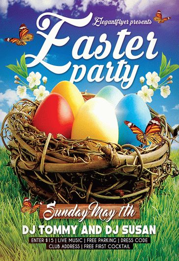 Easter Party V05 – Free Flyer Psd Template + Facebook Cover – By
