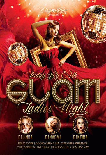 Glam Ladies Night – Flyer PSD Template + Facebook Cover