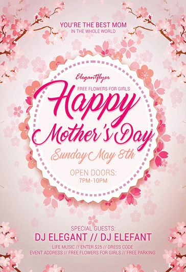 Happy Mother's Day – Flyer PSD Template + Facebook Cover