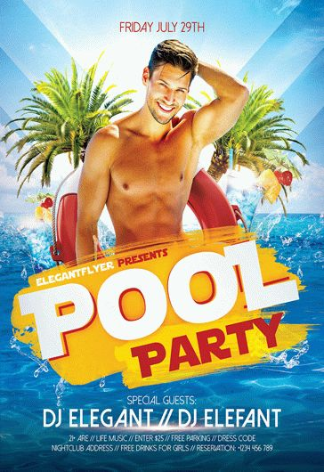Pool Party – Premium Club flyer PSD Template + Facebook Cover