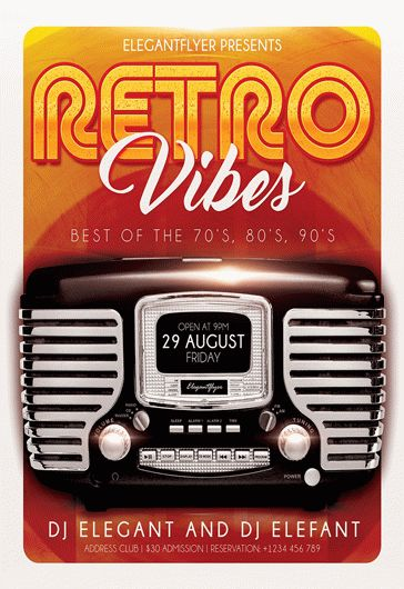 Retro Night – Premium Club flyer PSD Template