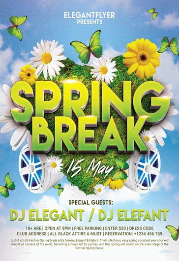 Spring Break Design V02 – Flyer PSD Template + Facebook Cover