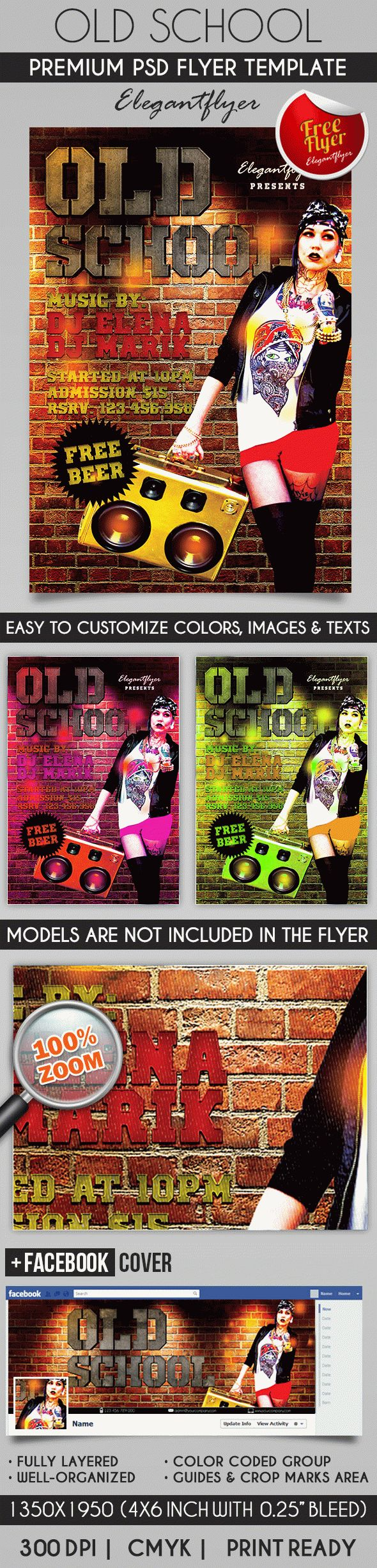 80´s Old School – Flyer PSD Template