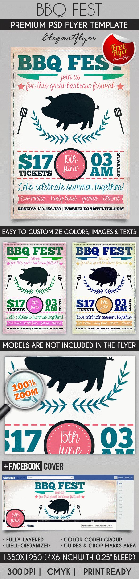 BBQ Fest – Flyer PSD Template + Facebook Cover