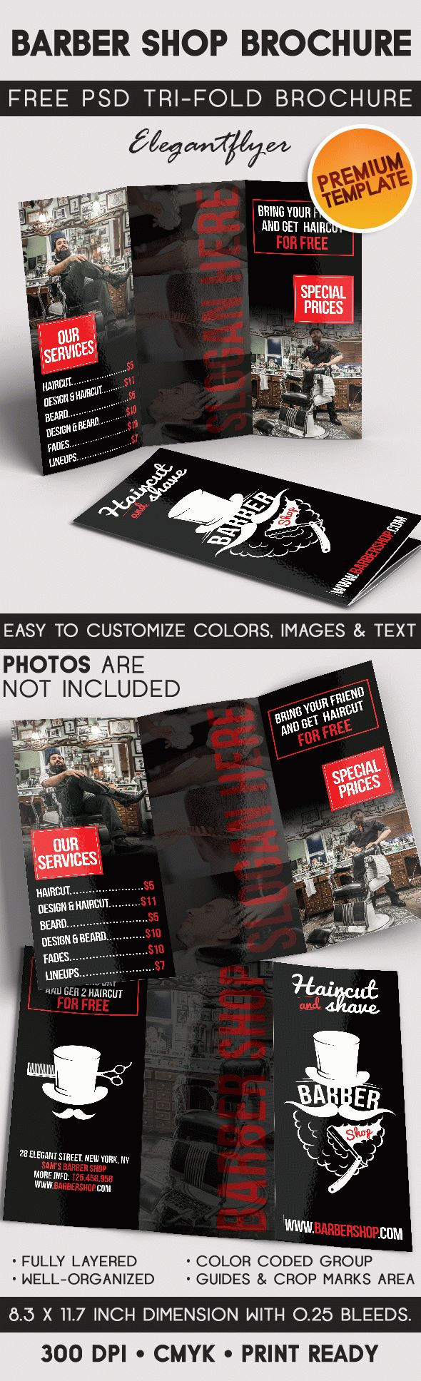Barber Shop – Tri-Fold Brochure PSD Template
