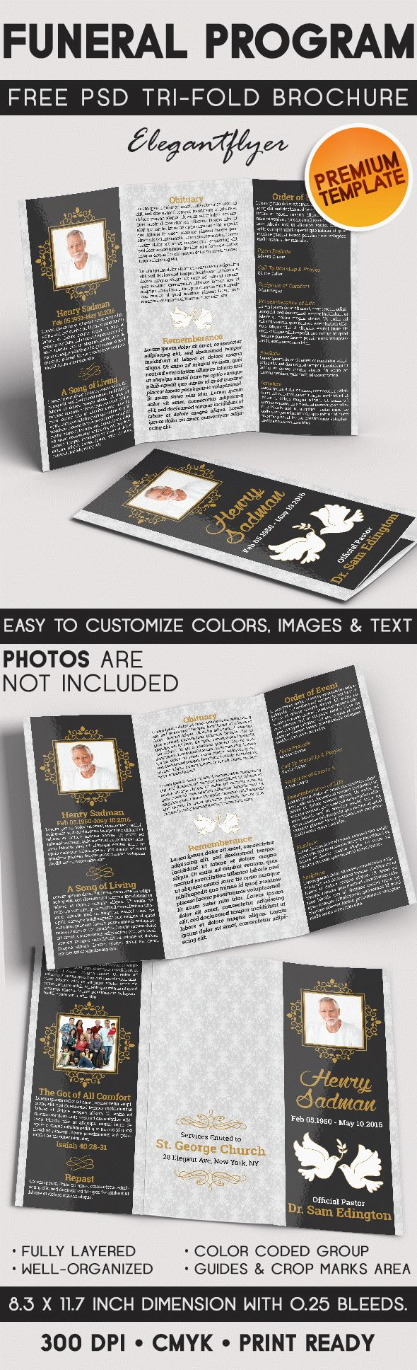 Tri fold brochure for funeral program by elegantflyer for Funeral brochure template
