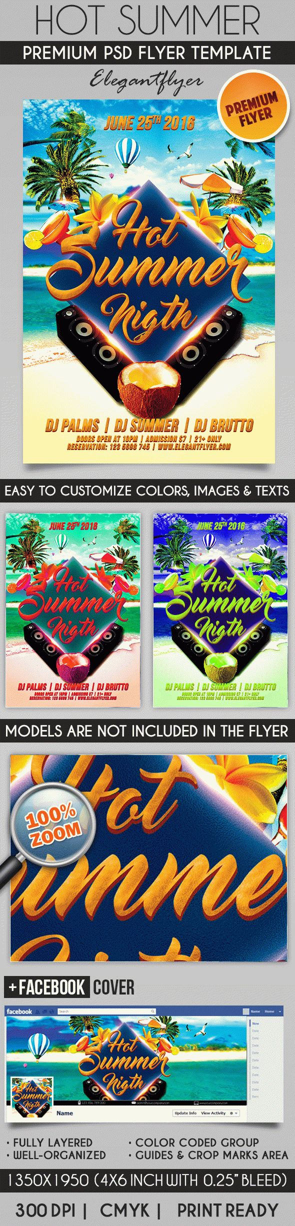 Hot Summer Night – Flyer PSD Template + Facebook Cover