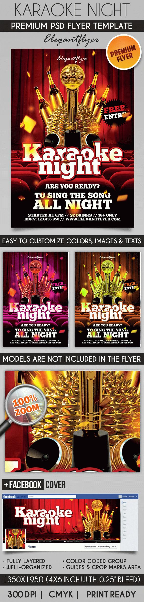Karaoke Night – Flyer PSD Template + Facebook Cover