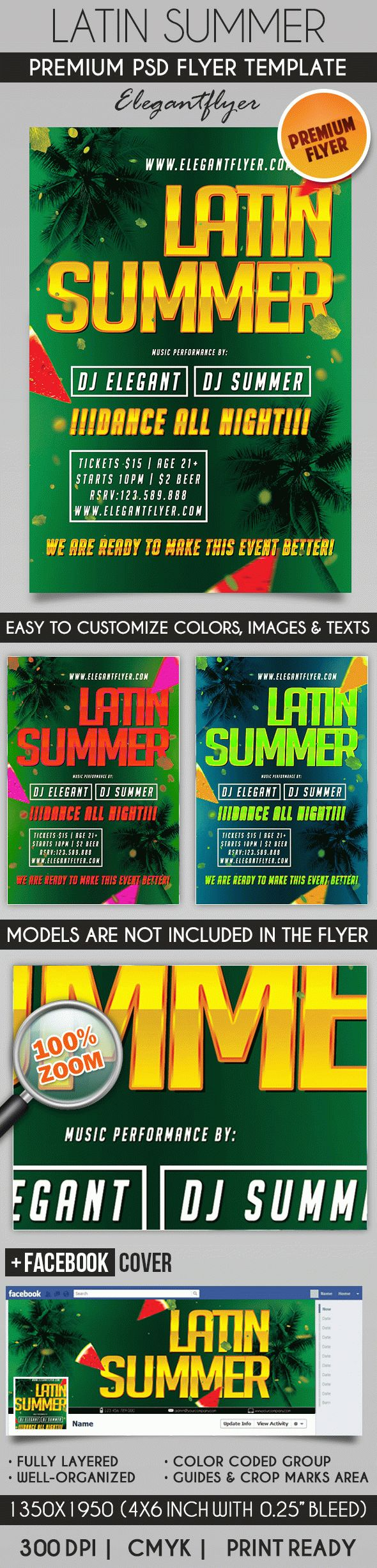 Latin Summer – Flyer PSD Template + Facebook Cover