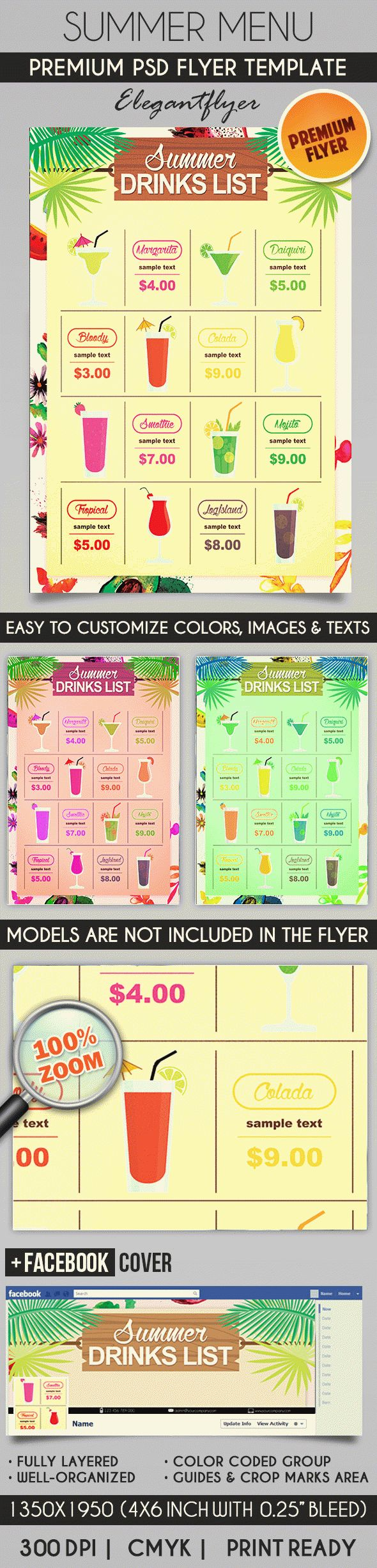 Summer Menu – Flyer PSD Template + Facebook Cover
