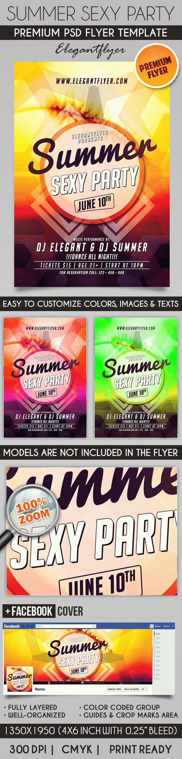 Summer Sexy Party – Flyer PSD Template + Facebook Cover