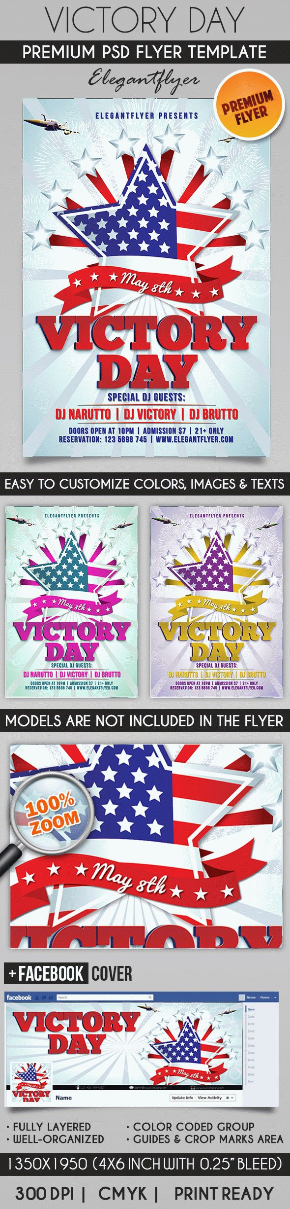 Victory Day – Flyer PSD Template + Facebook Cover