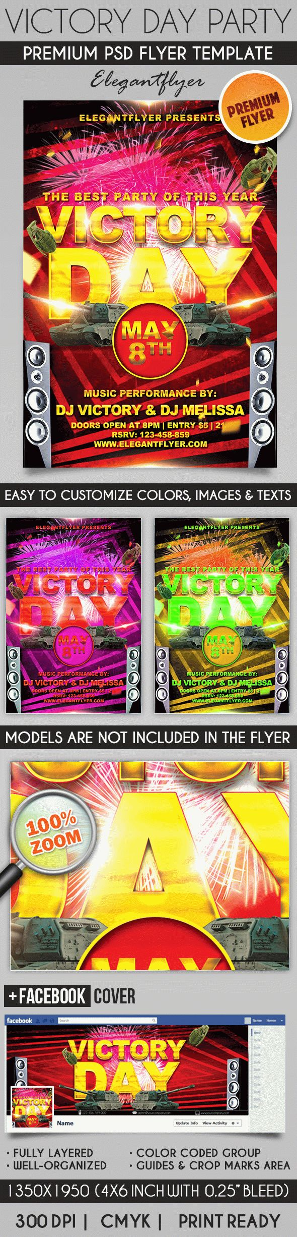 Victory Day Party – Flyer PSD Template + Facebook Cover