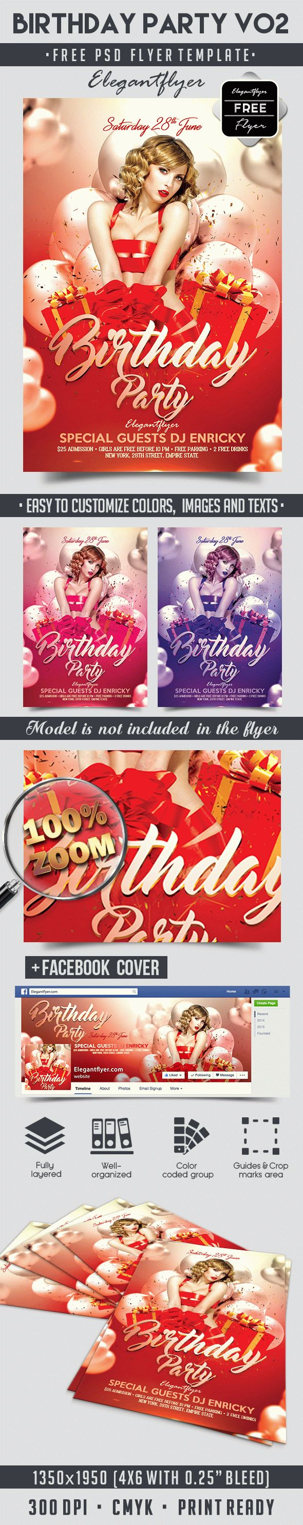 Birthday Party V02 – Free Flyer PSD Template