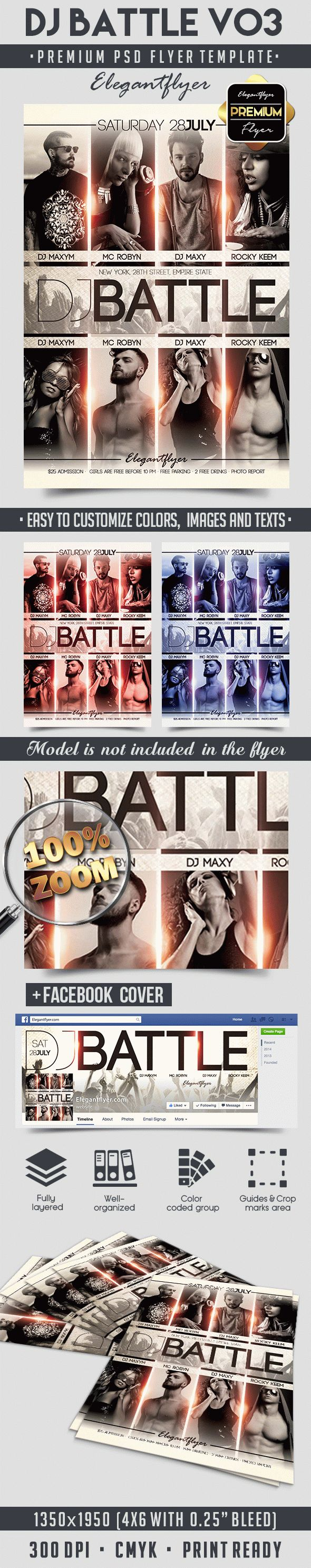 DJ Battle V03 – Flyer PSD Template + Facebook Cover