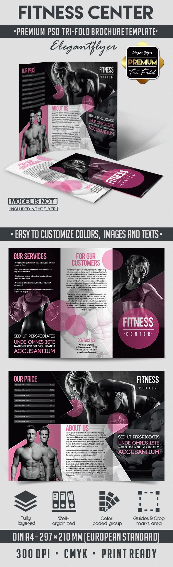 Fitness Center – Tri-Fold PSD Brochure Template