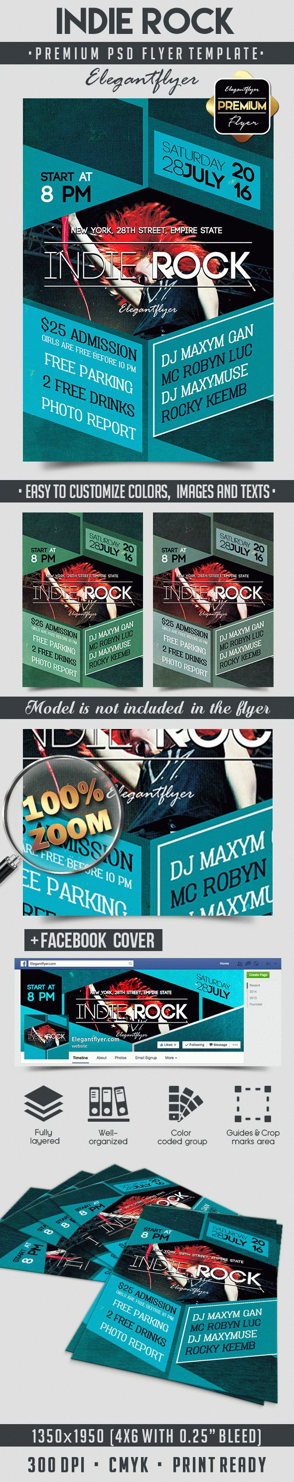 Indie Rock – Flyer PSD Template + Facebook Cover