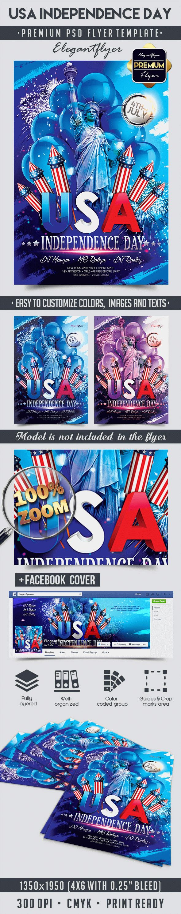 USA Independence Day – Flyer PSD Template + Facebook Cover