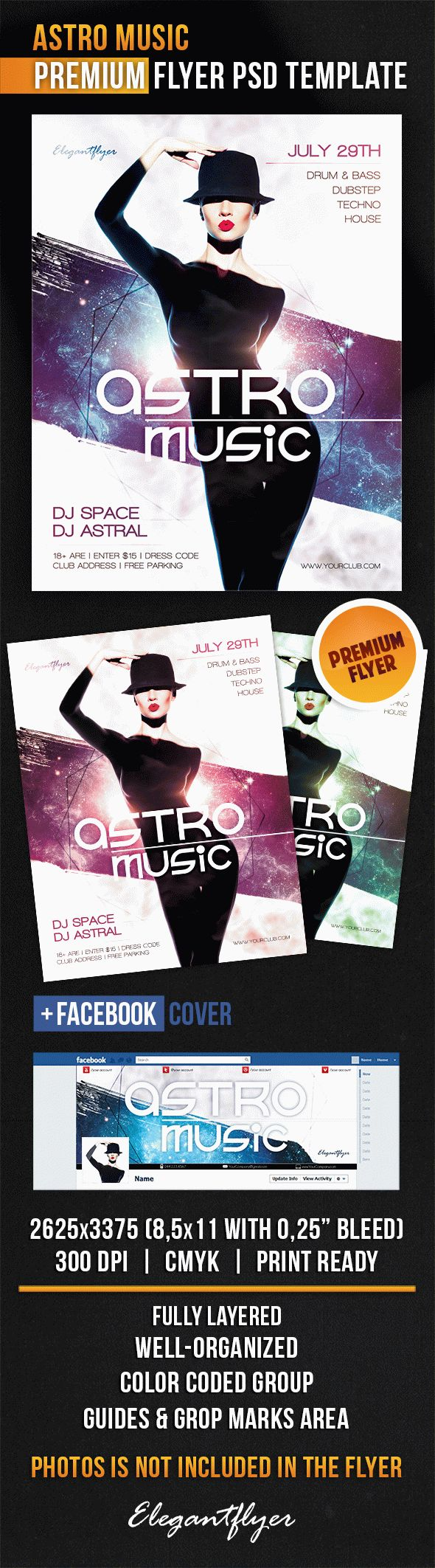Astro Music – Flyer PSD Template + Facebook Cover