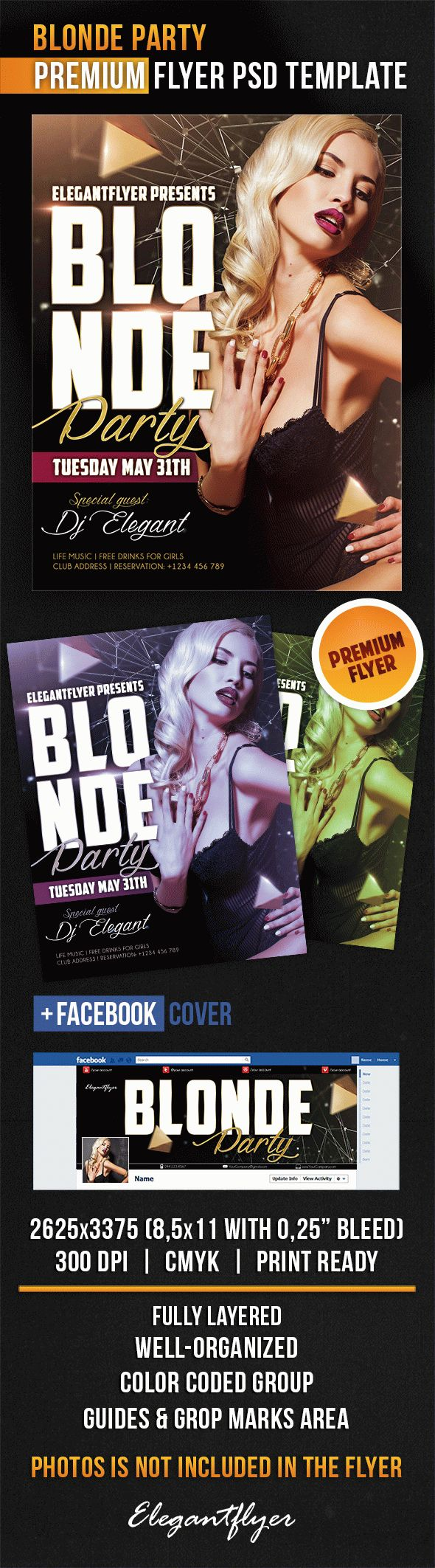 Blonde Party – Flyer PSD Template + Facebook Cover