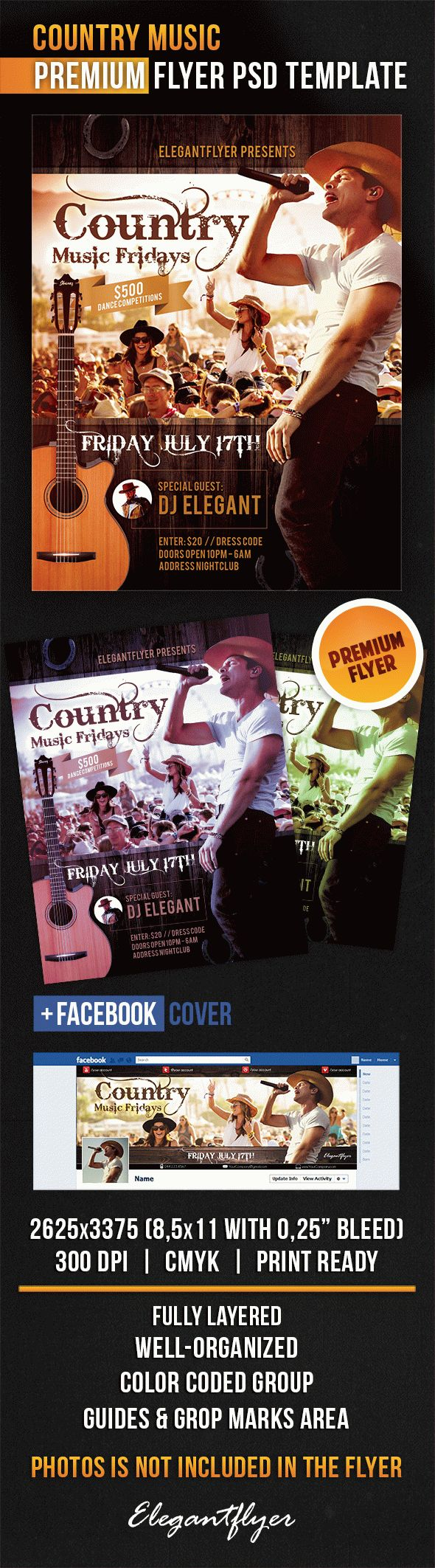 Country Music – Flyer PSD Template + Facebook Cover